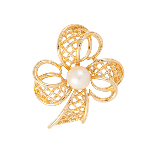 1960s Vintage Trifari Faux Pearl Bow Flower Brooch