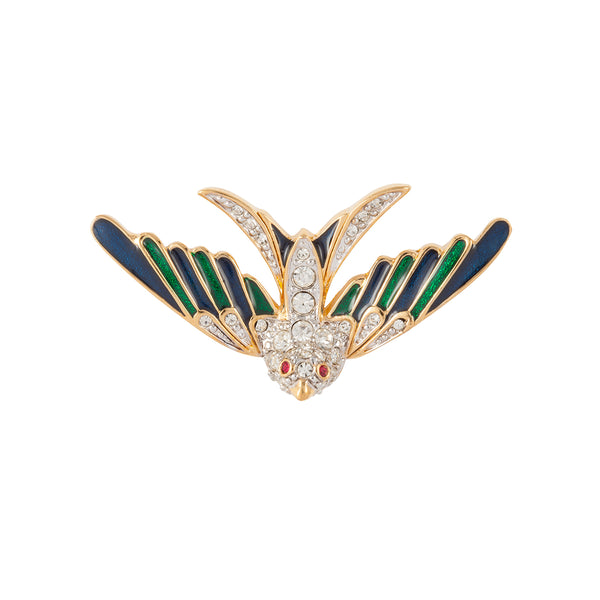 1990s Vintage D'Orlan Swallow Bird Brooch