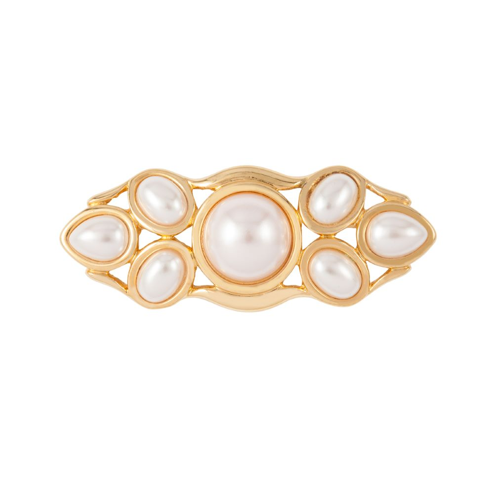 1980s Vintage Monet Faux Pearl Bar Brooch