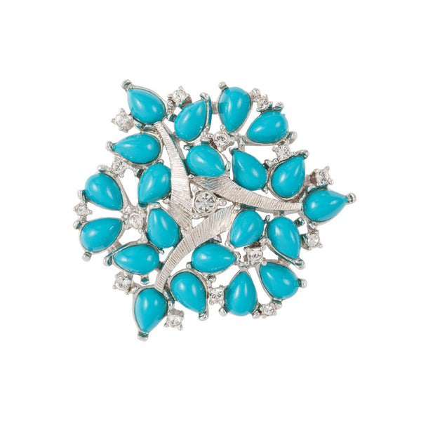 1990s Vintage Nina Ricci Faux Turquoise Brooch