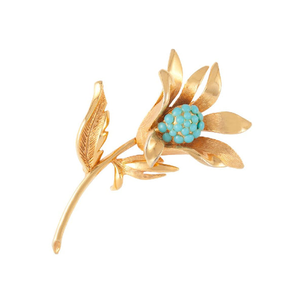 1980s Vintage Faux Turquoise Floral Brooch