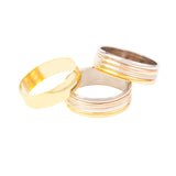 1990s Vintage Mixed Metal Ring Set of Three