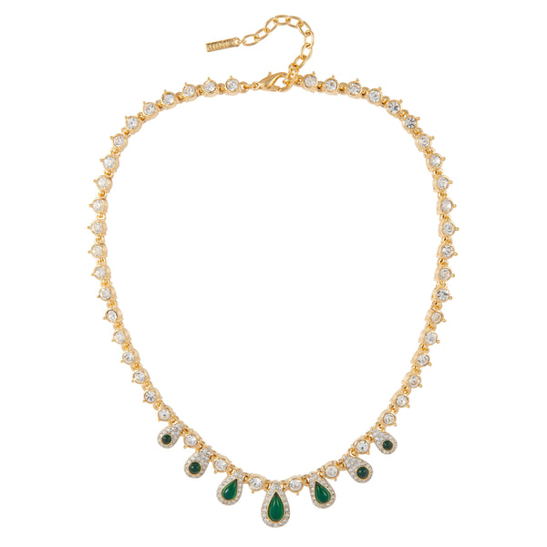 1980s Vintage D'Orlan Faux Emerald Swarovski Crystal Necklace