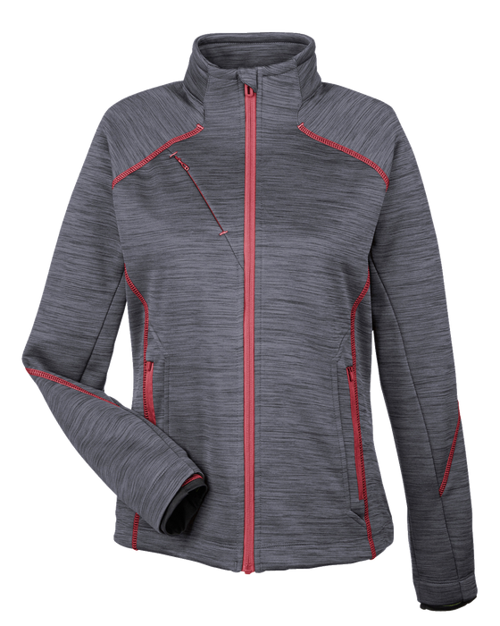 78697 Ladies Sport Red Flux Melange Bonded Fleece Jacket