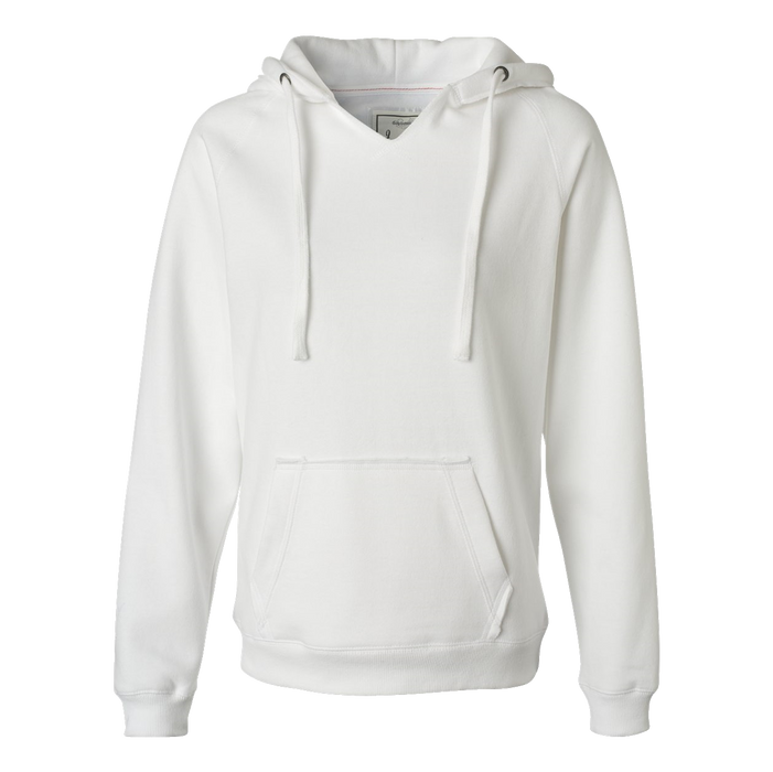 8836 Women's Sueded V-Neck Hooded Sweatshirt