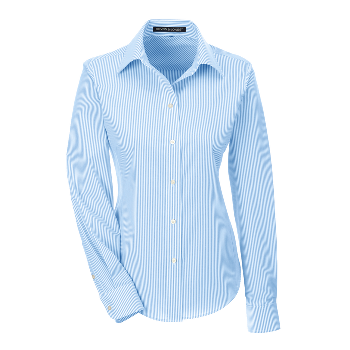 D645W Ladies Crown Collection Banker Stripe Shirt