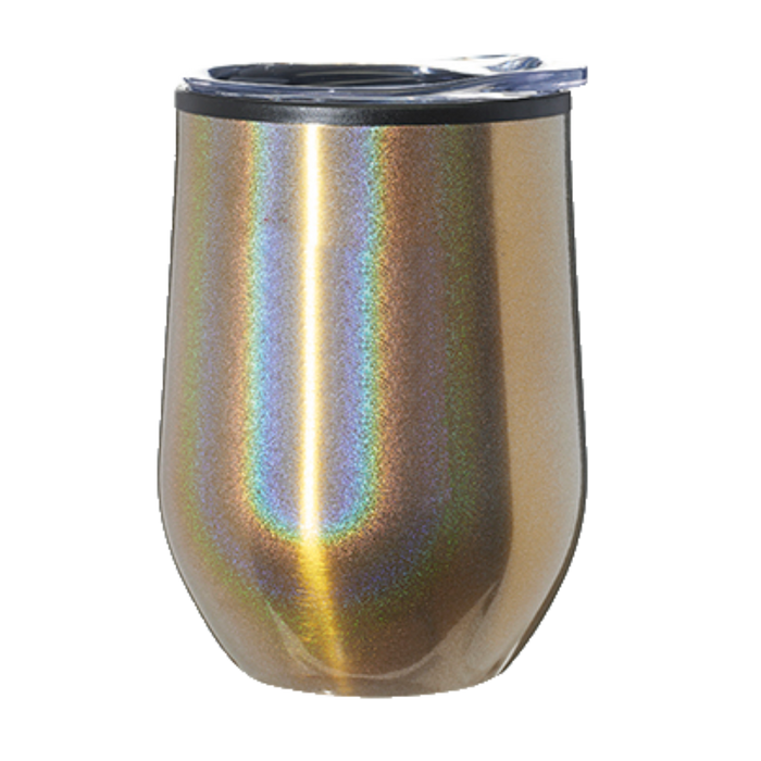 ASW47I 12 oz. Iridescent Stemless Wine Glasses with Lid