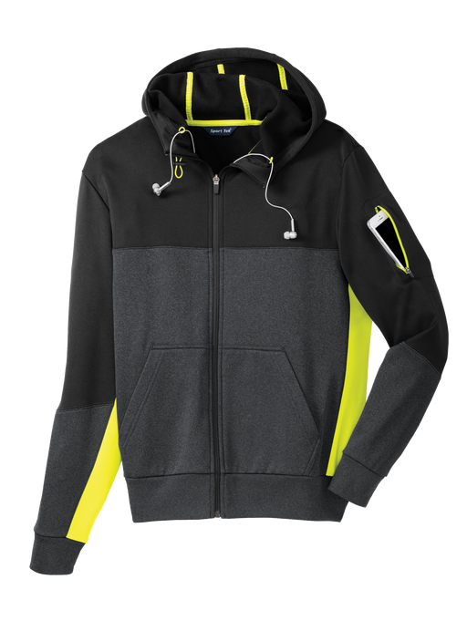 ST245 Mens Tech Fleece Colorblock Hooded Jacket