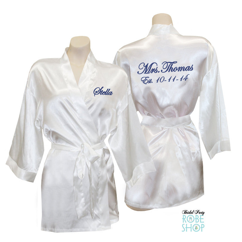 d8ac616141 Personalized Short Satin Robe with Embroidery on Front and Back – Bridal  Party Robe Shop