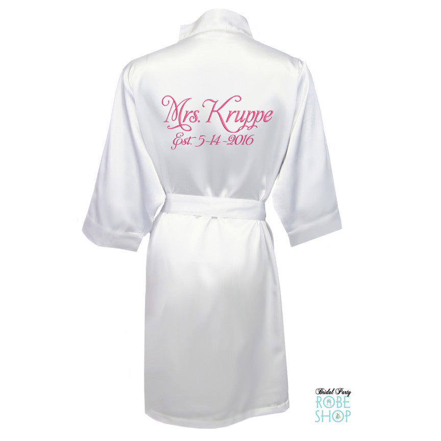 df4b1f5a27 Personalized Satin Mrs. Robe with Wedding Date  Above the Knee – Bridal  Party Robe Shop