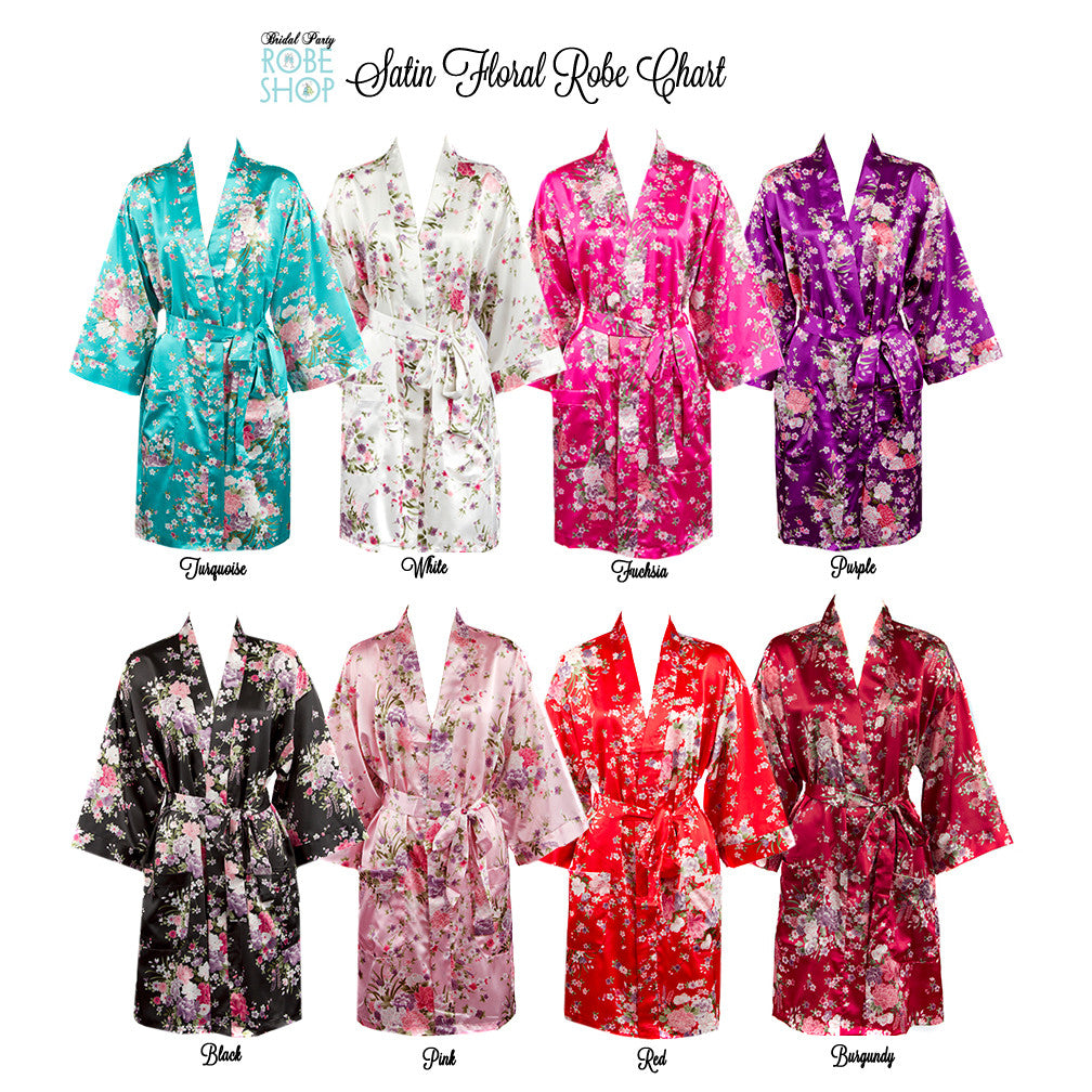 Personalized Floral Satin Robe with Name and Initial – Bridal Party Robe  Shop 16f1e321d