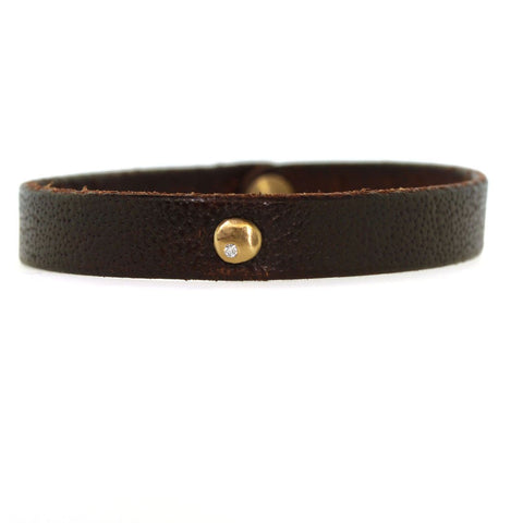 Gold Diamond Disc Leather Bracelet