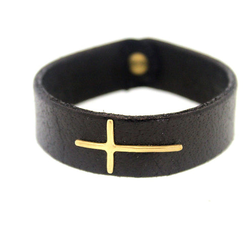 Buffalo Leather Bracelet with Thin Gold Cross - Rebecca Lankford Designs
