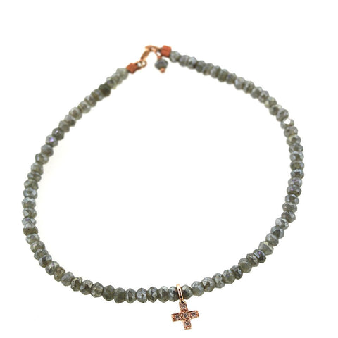 Custom Gray Sapphire & Diamond Cross Bracelet - Houston, Texas