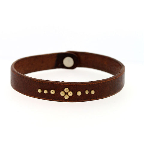 Buffalo Leather Bracelet with Gold Stud Flower - Handcrafted Leather Flower Bracelet - Rebecca Lankford Designs - 1