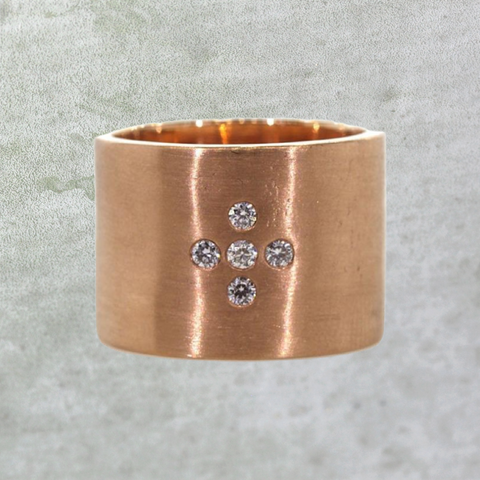 Thick Rose Gold Diamond Cross Ring