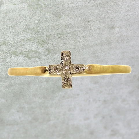 Pave Cross Ring