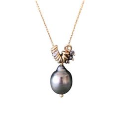 Tahitian Pearl with Diamonds and Charms Necklace