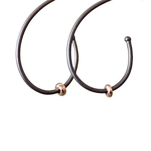 Rhodium Plated Oval Hoop with Rose Gold Charm