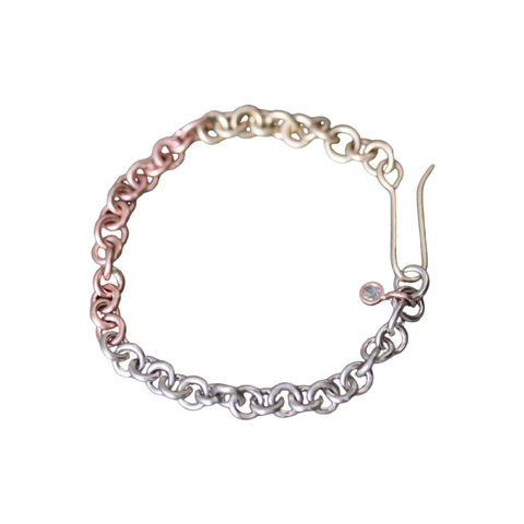 Tricolor Link Bracelet with Diamond Dangle