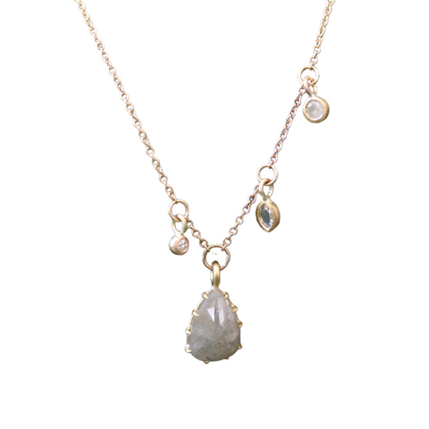 Pear Shaped Diamond Necklace with Offset Diamond Dangles