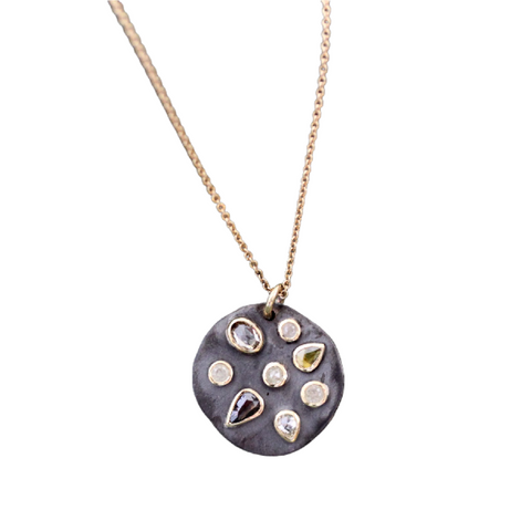 Multicolored Diamond Disc Necklace
