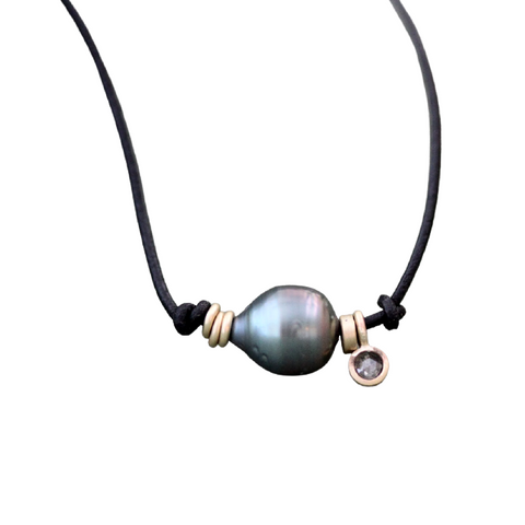 Leather Pearl Necklace with Salt and Pepper Rose Cut Diamond Charm