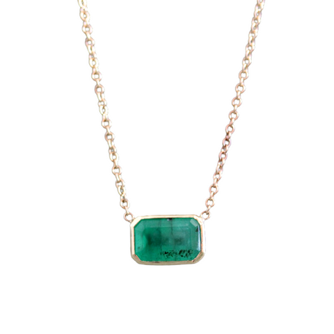 Bezeled Emerald Necklace