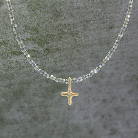 Blue Sapphire & Gold Cross Necklace