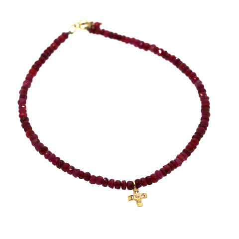 Ruby & Diamond Cross Bracelet- Rebecca Lankford Designs - Houston, TX