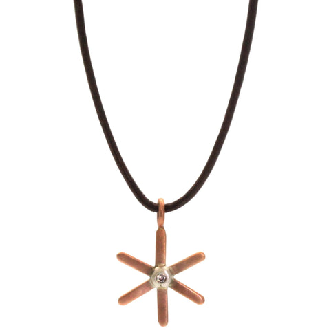 This Gold Starburst Necklace from Rebecca Lankford is a sweet pop of gold for everyone from children to adults! It features a gold, either rose or yellow, starburst pendant with a small diamond bezel set in white gold in the center.