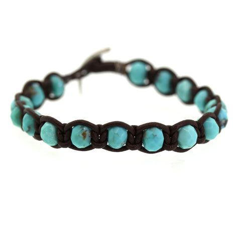 Chunky Turquoise Leather Bracelet  - Rebecca Lankford Designs - Houston, TX