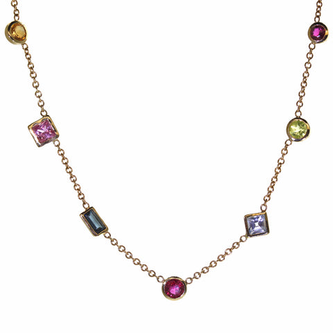 Dainty Gold Rainbow Necklace