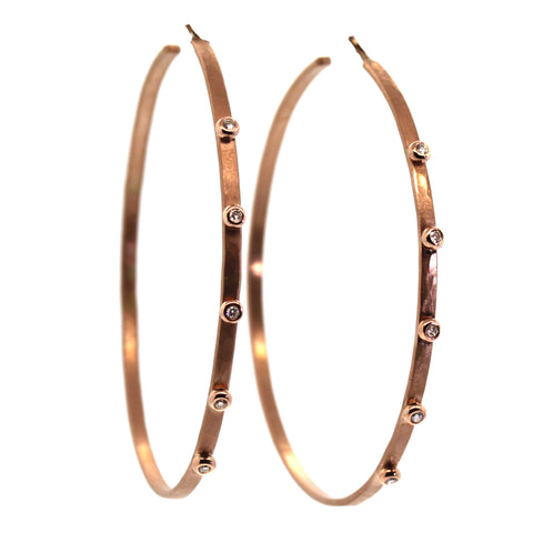Large Gold & Diamond Hoops