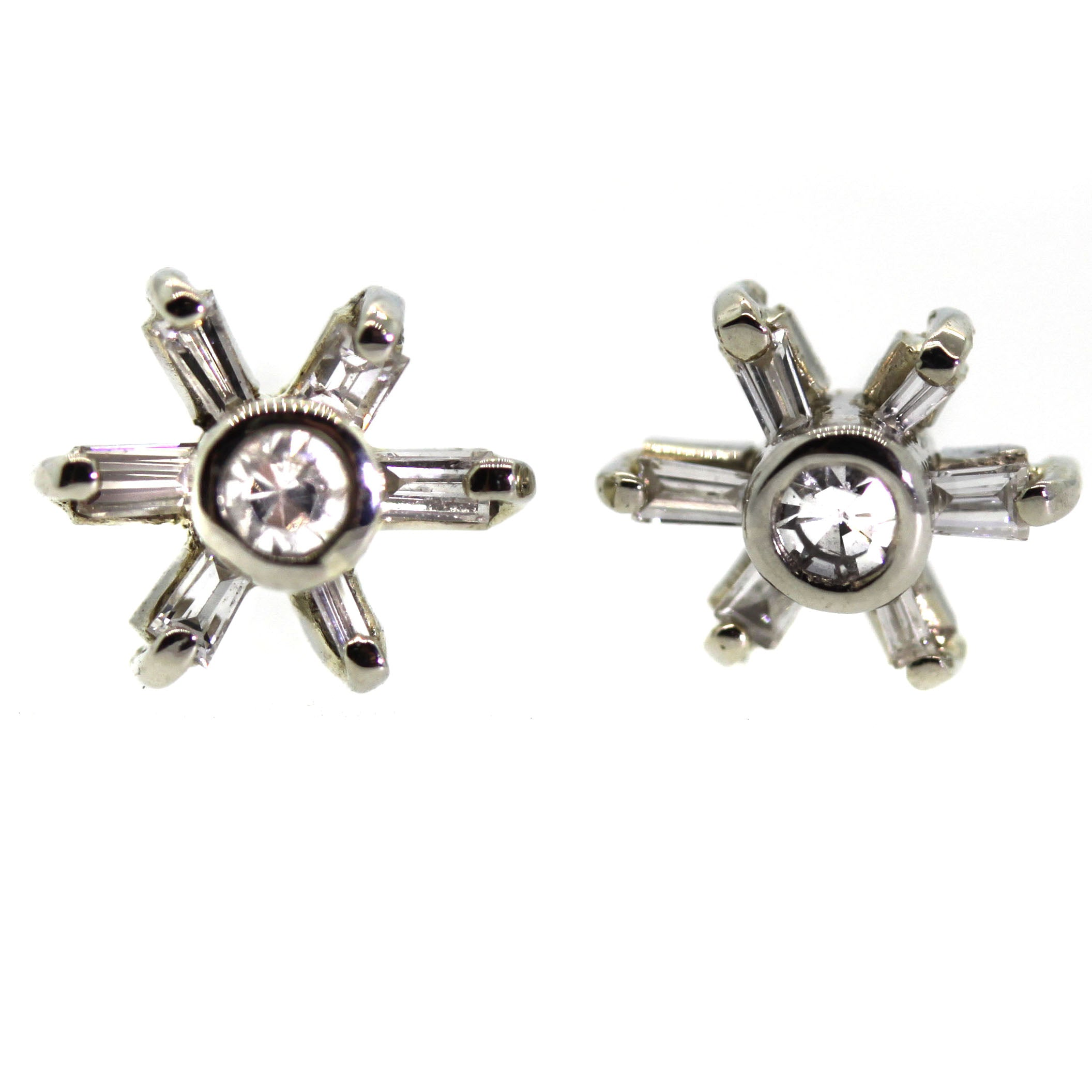Baguette Diamond Flower Stud Earrings