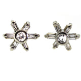 Baguette Diamond Flower Stud Earrings - Rebecca Lankford Designs - Houston, TX