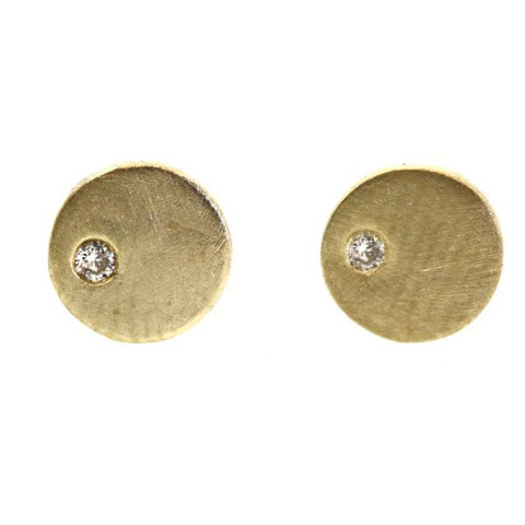 Off-set Diamond Stud Earrings