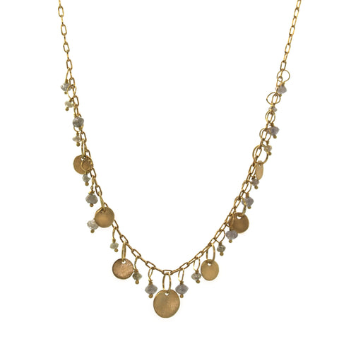 Raw Diamond and Gold Disc Dangle Necklace
