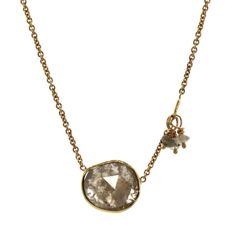 gold sliced diamond necklace
