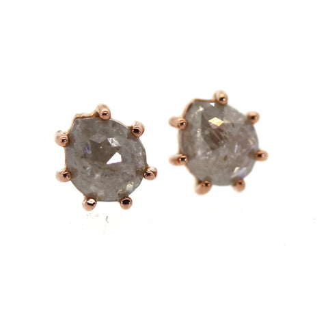 Raw Diamond Stud Earrings
