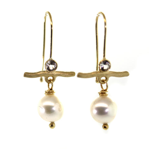 Pearl & Sapphire Gold Bar Earrings