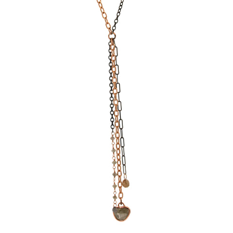 rose and silver mixed chain necklace featuring raw diamonds by Rebecca Lankford Designs - Houston, TX