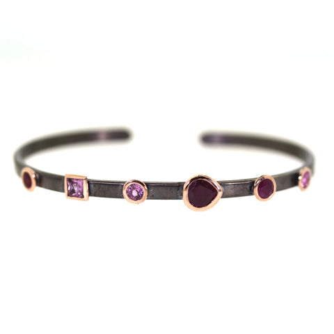 Mixed Gemstone Bezeled Cuff