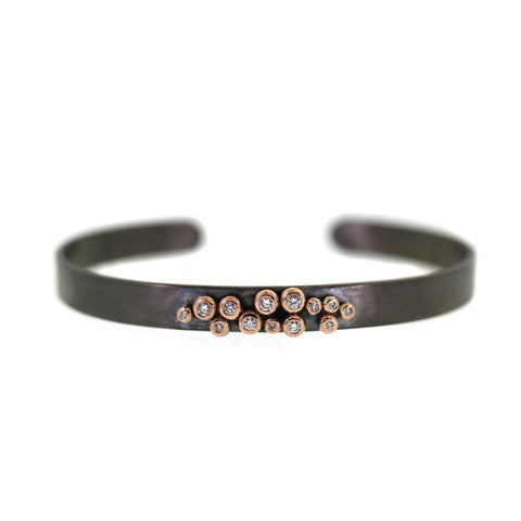 Rose Gold Bezeled Diamond Cuff