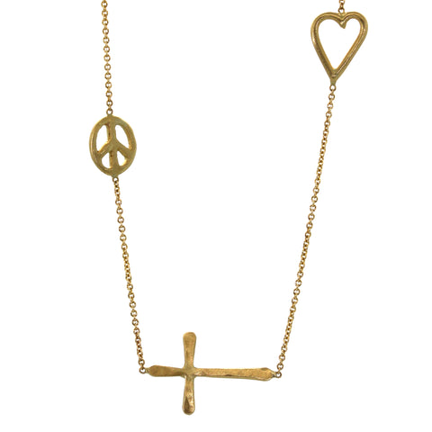 This Peace, Faith, Love Necklace features a handmade yellow gold peace sign, small heart, and sideways cross all soldered into a yellow gold chain. It was handcrafted with precision at studio 703 + RLD in Houston, Texas.