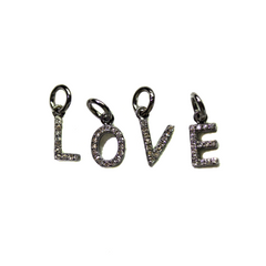Silver Pave Letter Charms