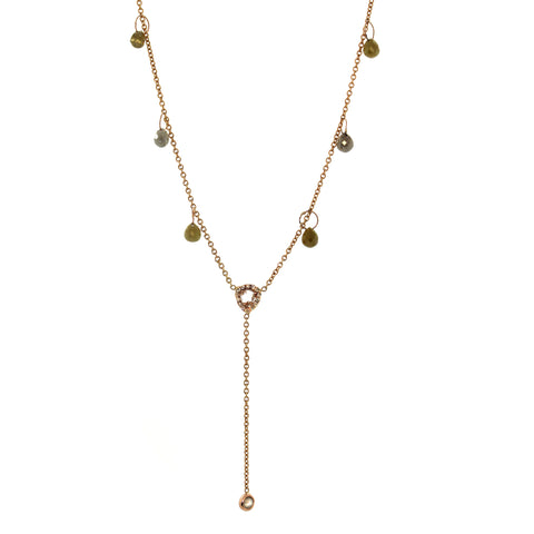 "Rose & Raw Diamond ""Y"" Necklace"