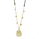 rutilated quartz, raw diamonds, gemstone necklace, rebecca lankford designs