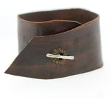 Baguette Diamond Leather Cuff Bracelet