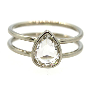 rose cut diamond, double band, modern engagement ring, alternative bride, rebecca lankford designs, white gold